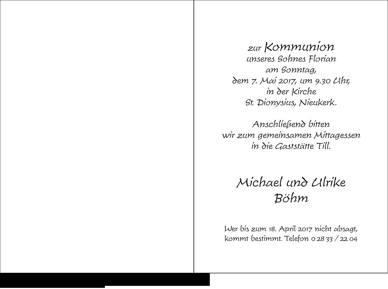 Kommunion Karte Schreiben.Paperado Kommunion Weiss